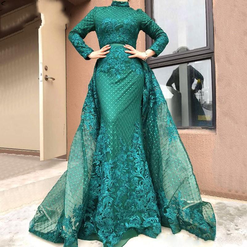 2019 Emerald Green Muslim Prom Dresses High Neck Long Sleeves Lace Applique Detachable Train Saudi Arabic Mermaid Evening Gowns