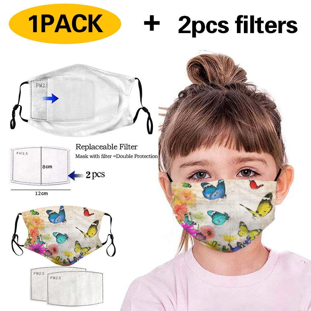 Kids Anti Pollution PM2.5 Cotton Animal Print Mouth Mask Filter Papers Pad Kids Anti-Dust Mask Activated Carbon Filter Mask