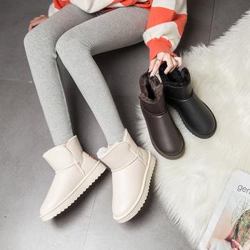 2020 kobiet nowa zima Plus aksamitne PU wodoodporne buty w połowie rury zagęszczony ciepłe buty na śnieg damskie buty bawełniane fala tanie i dobre opinie KJGIUD CN (pochodzenie) Połowy łydki Platforma Stałe Dla osób dorosłych Płaskie z BUTY NA ŚNIEG Krótki plusz okrągły nosek