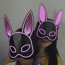 NEW New Sound Activated LED Light Up Mask Halloween DJ Music Party Mask Rabbit Halloween Cosplay Costume Half Face Masks eva half face rabbit cosplay halloween masquerade masks halloween bunny adult party mask new year mask cosplay costume supplies