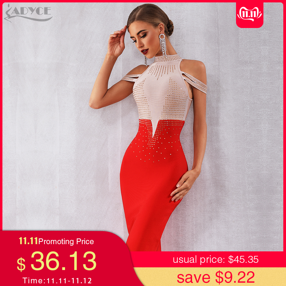 Adyce 2019 New Summer Bandage Dress Women Elegant Red Off Shoulder Sexy Feather Bodycon Club Beading Celebrity Party