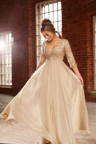 2018 Sexy Deep V Neck Half Sleeves Champagne Chiffon Long Prom Beaded Lace Formal Evening gown mother of the bride dresses