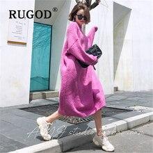 RUGOD abito maglione oversize moda donna coreano solido girocollo manica a pipistrello maxi abito lungo lavorato a maglia 2019 capispalla Casual