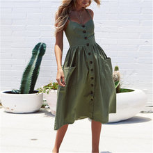 2021 Summer Hot Sale Ladies Mid-Length Dress Sexy Sling Big Swing Button Pocket Open Back Dress Sleeveless dress In Stock S-3XL