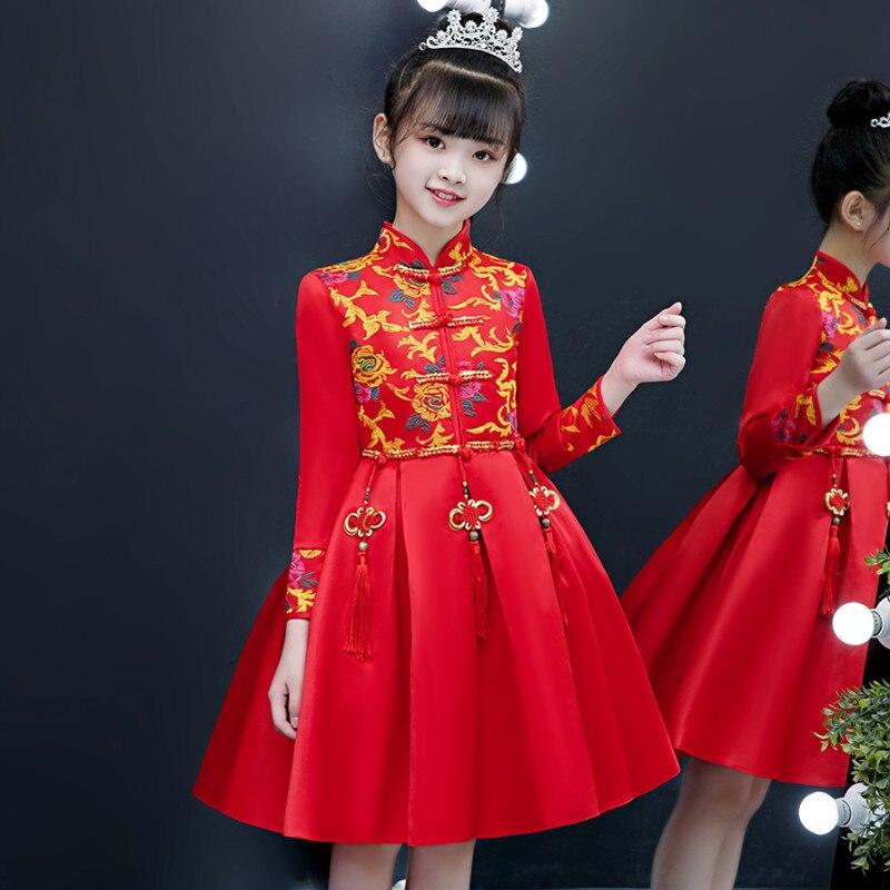 Chinese-style Girls Cheongsam Princess Dress CHILDREN'S Costume Little Girl Baby New Year-Chinese Costume new YEAR'S Greetings
