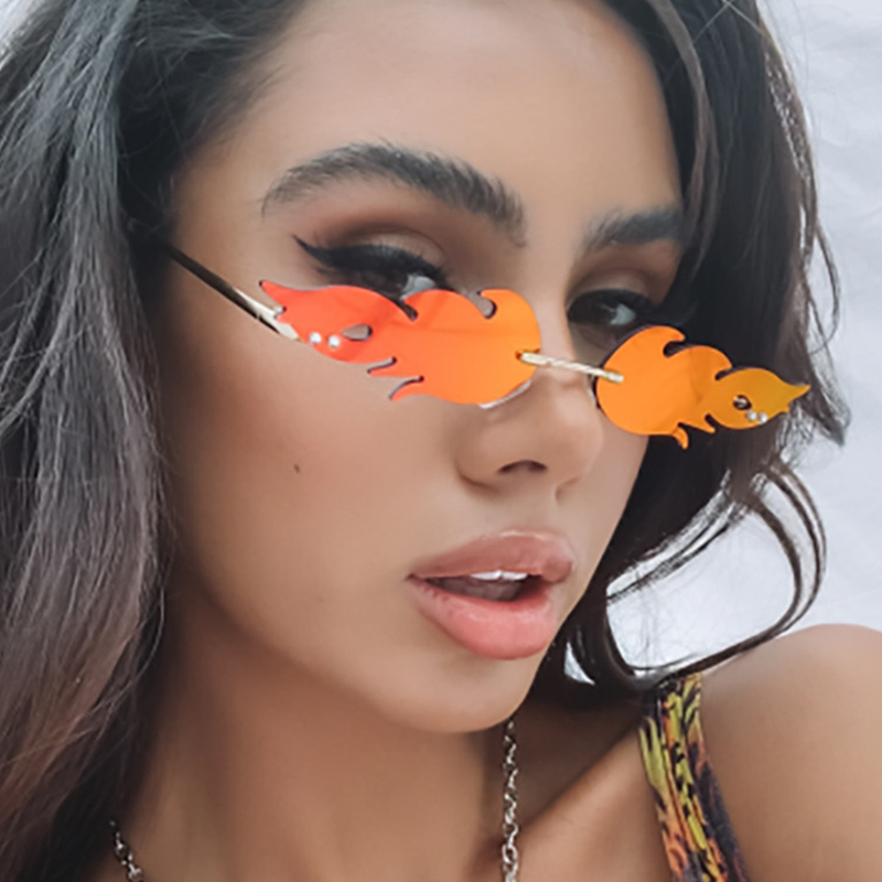 Luxury Fashion Fire Flame Sunglasses Women Rimless Wave Sun Glasses Metal Shades For Vintage Women Mirror Eyewear UV400