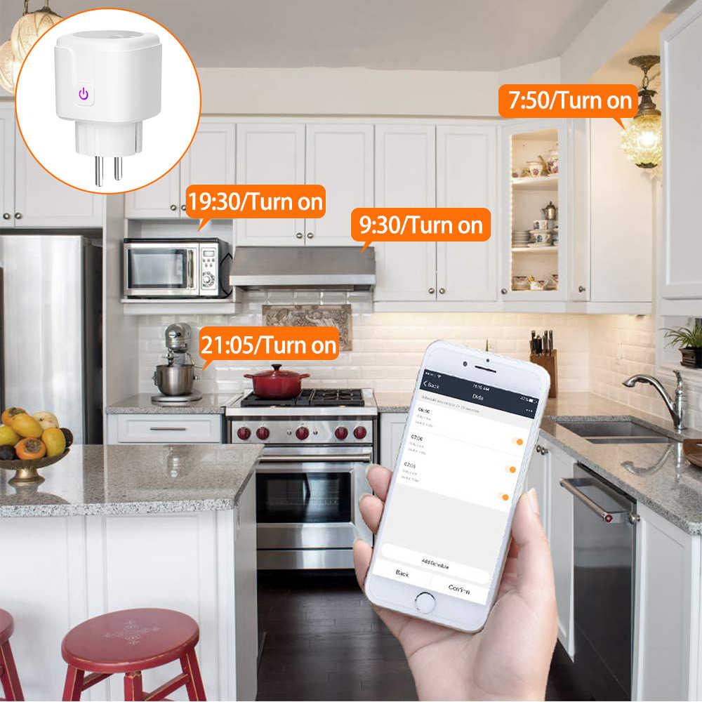Wifi Smart Plug 16A Uni Eropa Wifi Soket dengan Waktu Aplikasi Kontrol kompatibel Alexa Google Home Mini Ifttt Suara Kontrol Cerdas