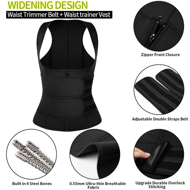 Women Waist Trainer Corset Trimmer Belt Body Shaper Slimming with Zipper Sauna Sweat Belly Waist Cincher for Weight Loss 2