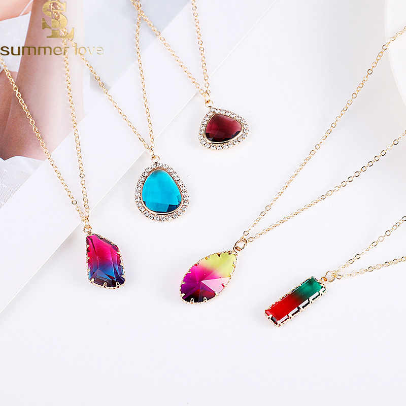 Корейский стиль, нерегулярный кристалл, ожерелье золотого цвета, длинная цепочка, ожерелье для женщин, цветной стеклянный кулон, богемные опаловые ювелирные изделия