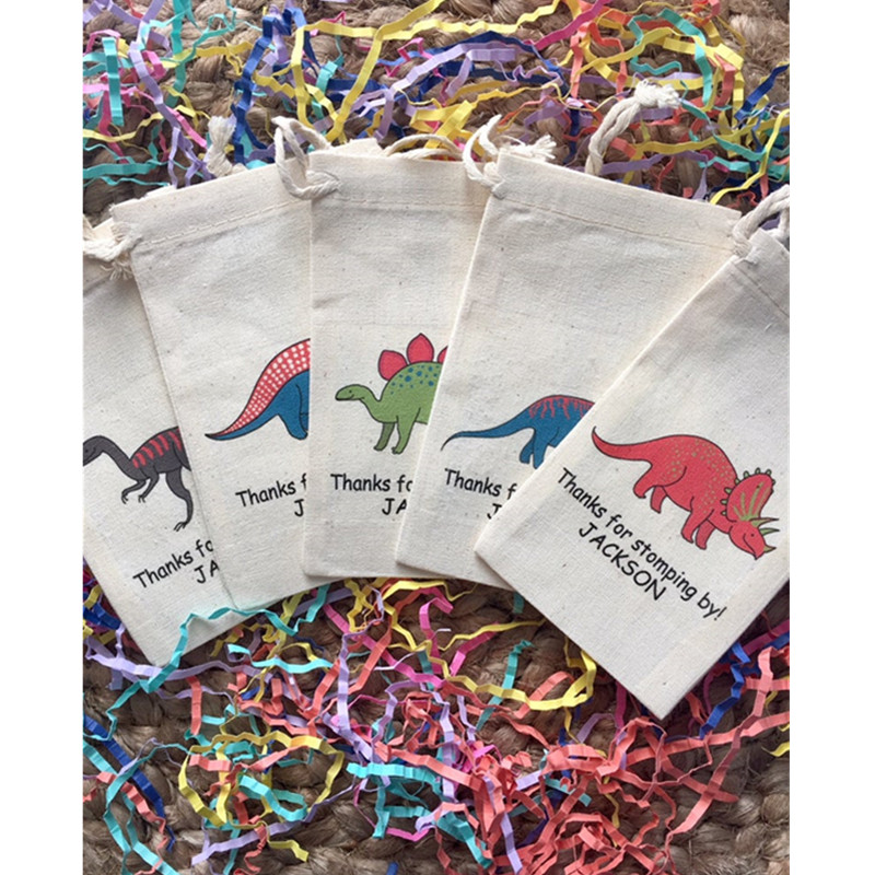 Dinosaur Party Favor Bag Personalized Cotton Birthday Party Gift Bags Baptism Gift Welcome Drawstring Bags Treat Bag Set Of 10