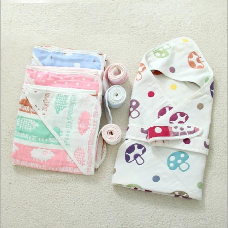Pure Cotton Newborn Baby Swaddle Infant Envelope Blanket Wrap Summer Hodded Blankets Swaddling 90*90cm