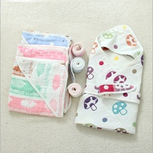 Pure Cotton Newborn Baby Swaddle Infant Envelope Blanket Wrap Summer Hodded Blankets Swaddling 90*90cm