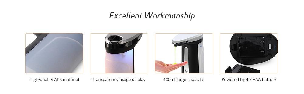 H890f832442eb42738889f63f55f6ea74q Liquid Soap Dispenser 400Ml Automatic Smart Sensor Touchless ABS Electroplated Sanitizer Dispensador Bottle for Kitchen Bathroom