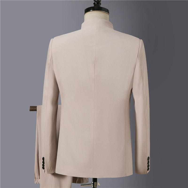 2020 New Style Men Casual Embroidered Sun Yat-sen Costume Suit Zen Embroidered Cotton Linen Coat 2 Pieces