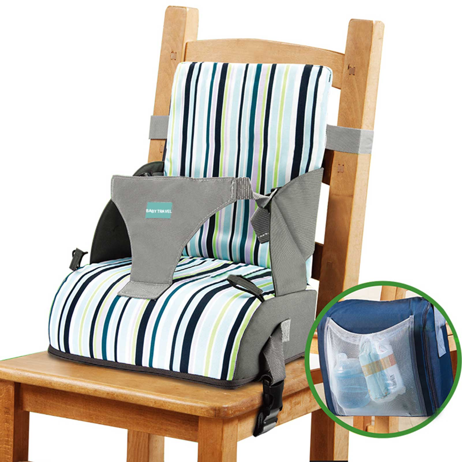 Baby Chair Booster Seat Dining Chair Heightening Cushion Portable Dismountable Adjustable Highchair Booster for Baby beneficial