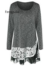 Retro Lace Trim Layered Tunic Knitwear Women Pullover Long Sleeve O-Neck Marled Casual Loose Jumper Autumn Knitted Sweater Tops marled self tie pullover sweatshirt
