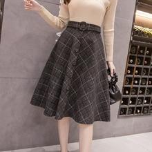 Зима Осень миди Клетчатые Шерстяные Юбки женские корейские модные новые Harajuku трапециевидные юбки женская уличная одежда большого размера юбка