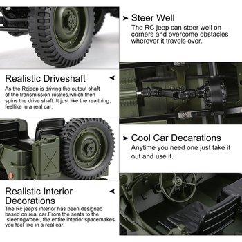 C606 1:10 RC רכב 2.4G 4WD להמרה שלט רחוק אור Jeep ארבעה גלגל כונן מחוץ לכביש צבאי טיפוס מכונית צעצוע ילד מתנה