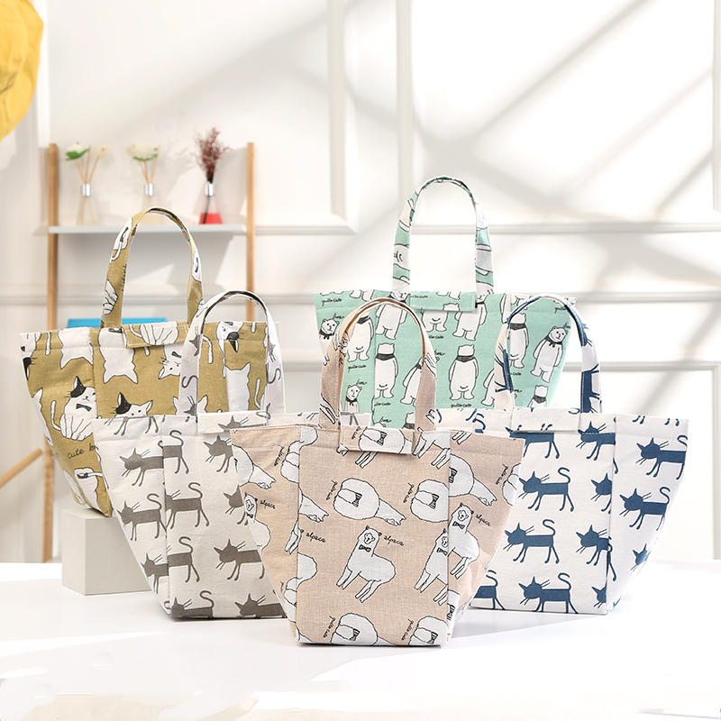 GABWE Cartoon Waterproof Lunch Box font b Bag b font Portable Insulated Canvas Tote Thermal Food