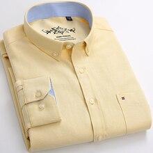 긴 소매 옥스포드 남성 셔츠 솔리드 컬러 캐주얼 비즈니스 남성 버튼 드레스 셔츠 스트라이프 남성 레귤러 탑스 camisa masculina