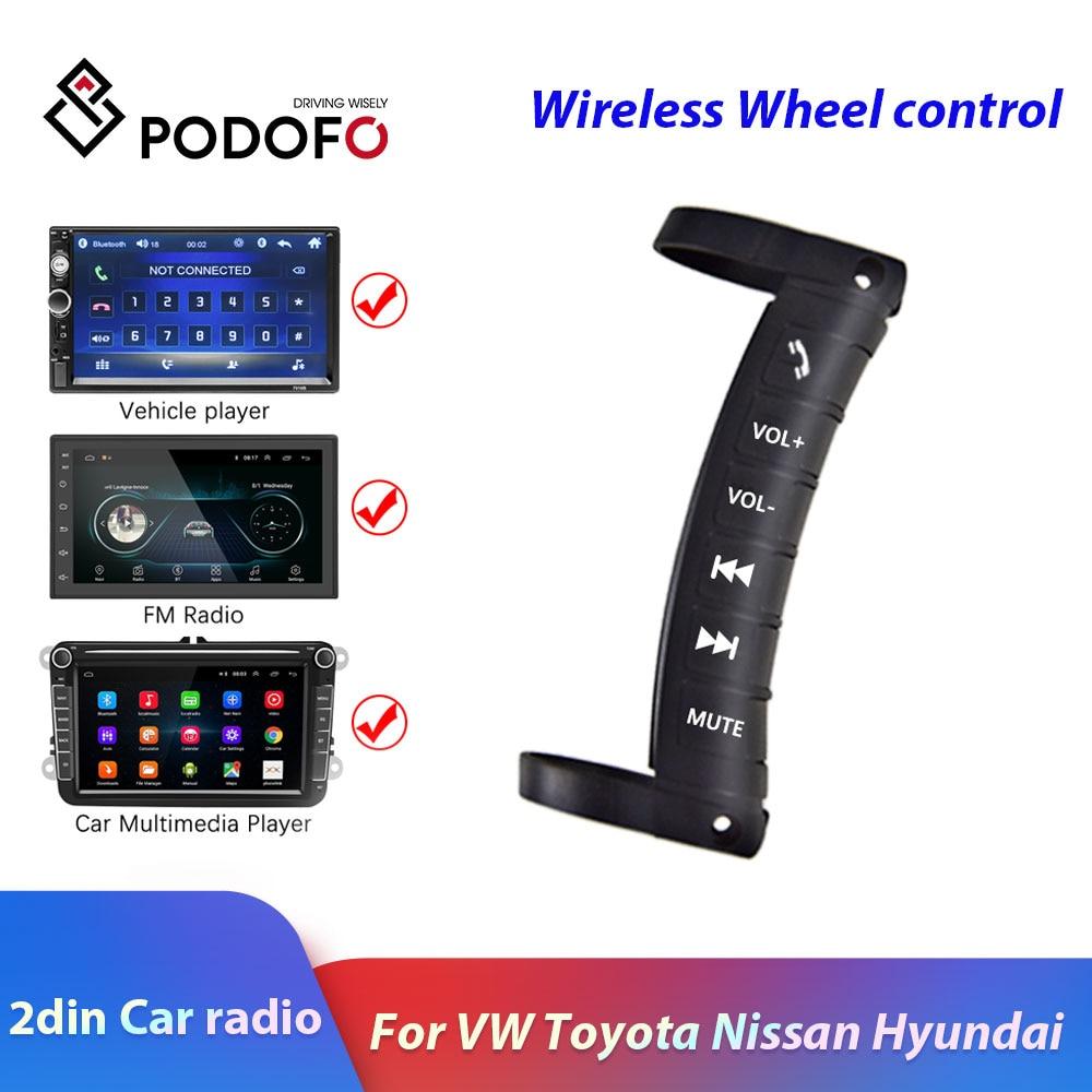 Podofo 2din Car Radio Wireless Steering Wheel Control For 2 DIN Universal VW Toyoto Nissan Hyundai Polo Skoda Autoradio Remote