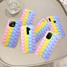 Redmi Note 7 поп пуш-ап пузырь игрушки Fidget чехол для телефона чехол для Xiaomi mi-8 11 9T Poco F3 Note 8 Pro 9S K20 K30 K40 стресс Reliver