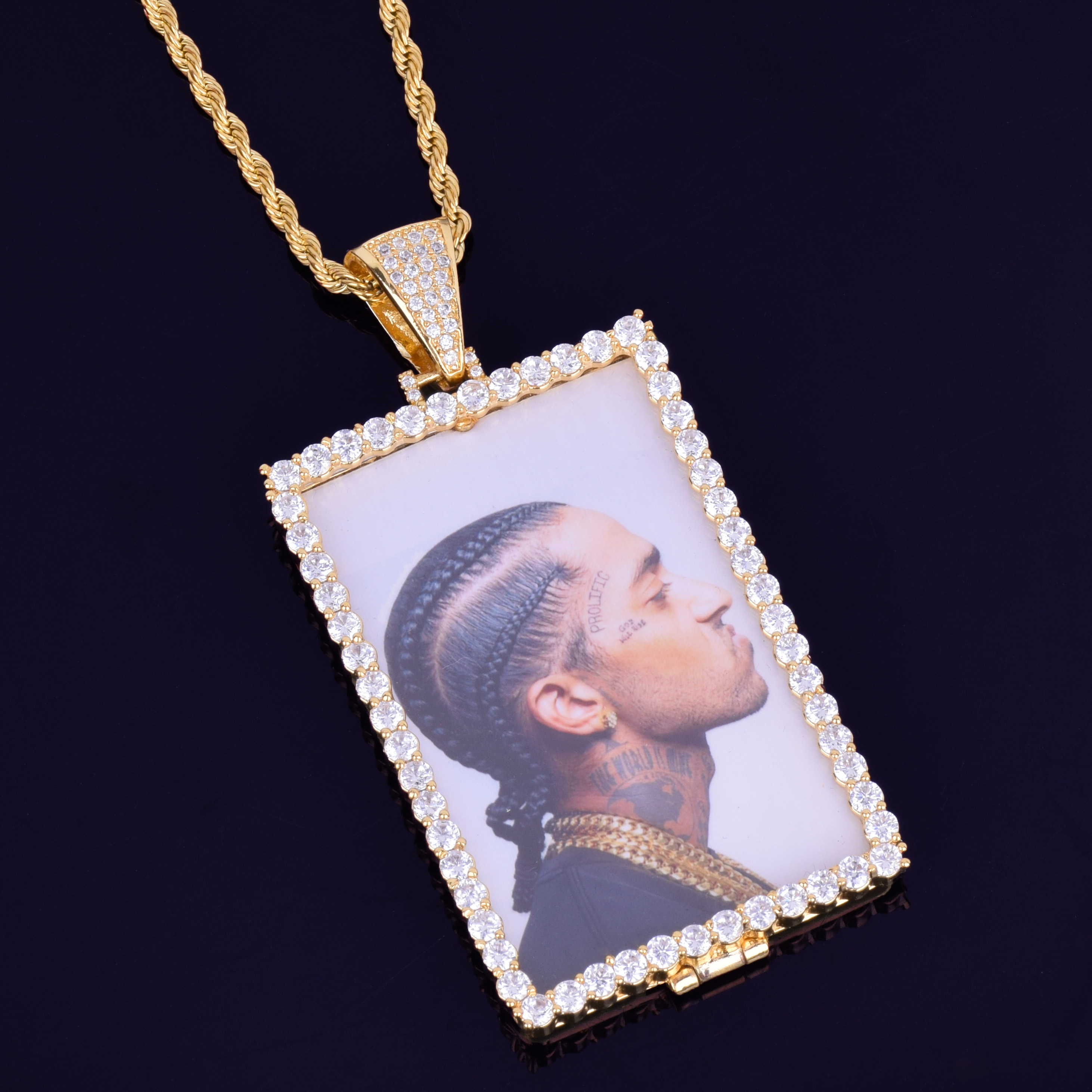 Image 5 - Custom Made Photo Squar Medallions Necklace & Pendant with 4mm Tennis Chain Gold Silver Color Cubic Zircon Men's Hip hop Jewelry-in Pendant Necklaces from Jewelry & Accessories