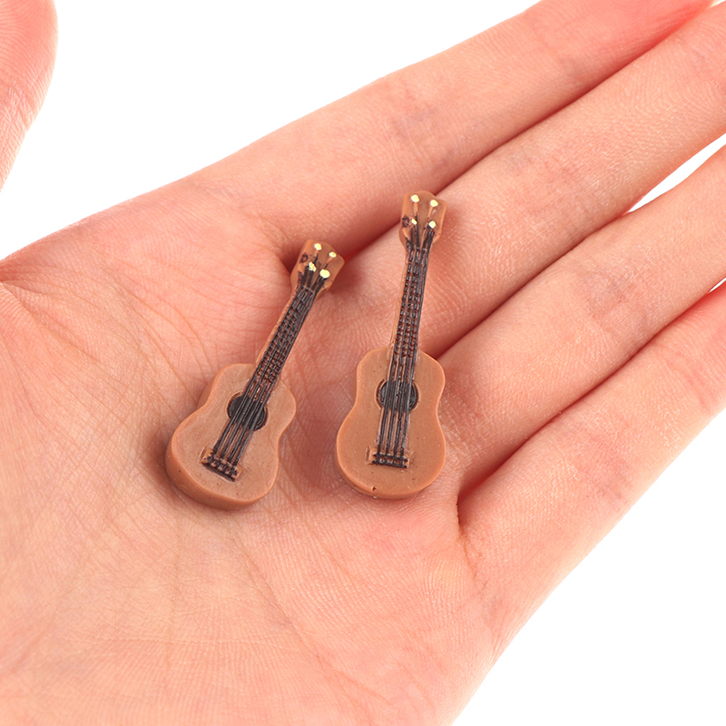 1Pc Mini Guitar Flatback Cabochon Charm DIY Craft Accessory Doll House Home Garden Decoration Accessories
