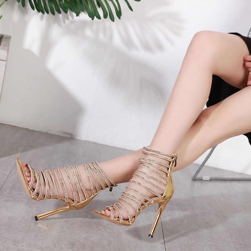 Kobiety Sexy szpilki świecące buty kobieta letnie klapki kryształowe damskie obcasy szpiczasty nosek zamek kobiece Party złote czółenka