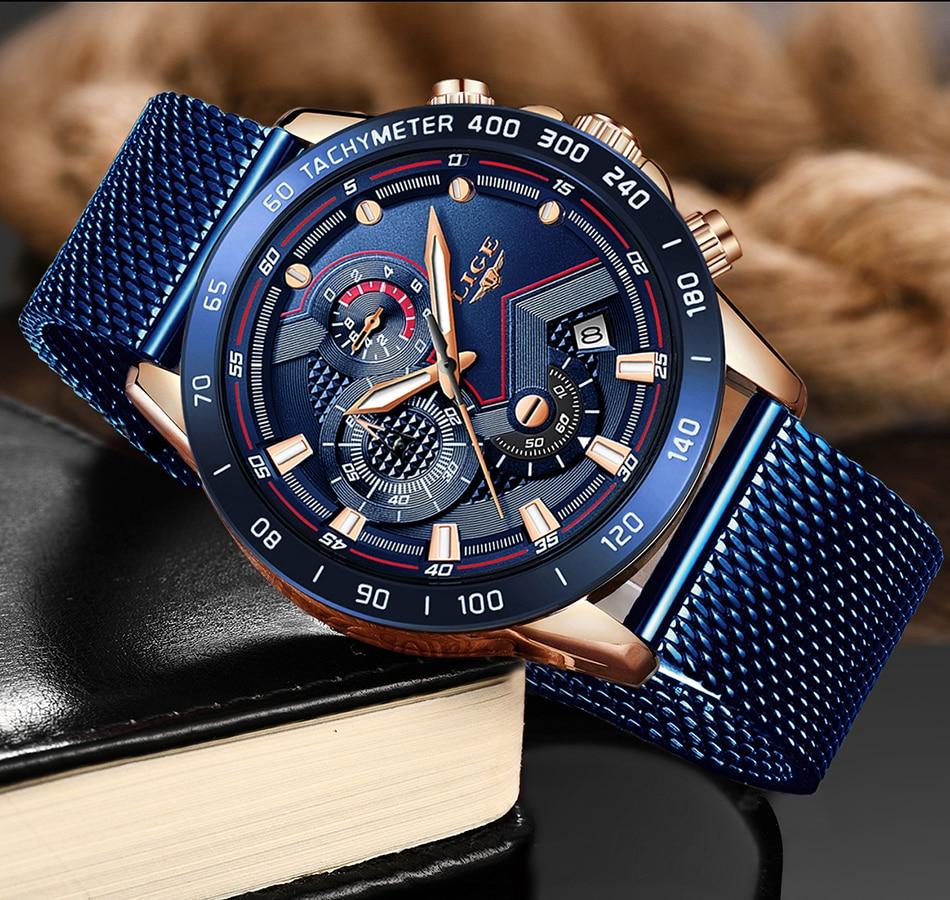 H890ff698b0d747faab12d327361b0dc6h 2019 New LIGE Blue Casual Mesh Belt Fashion Quartz Gold Watch Mens Watches Top Brand Luxury Waterproof Clock Relogio Masculino