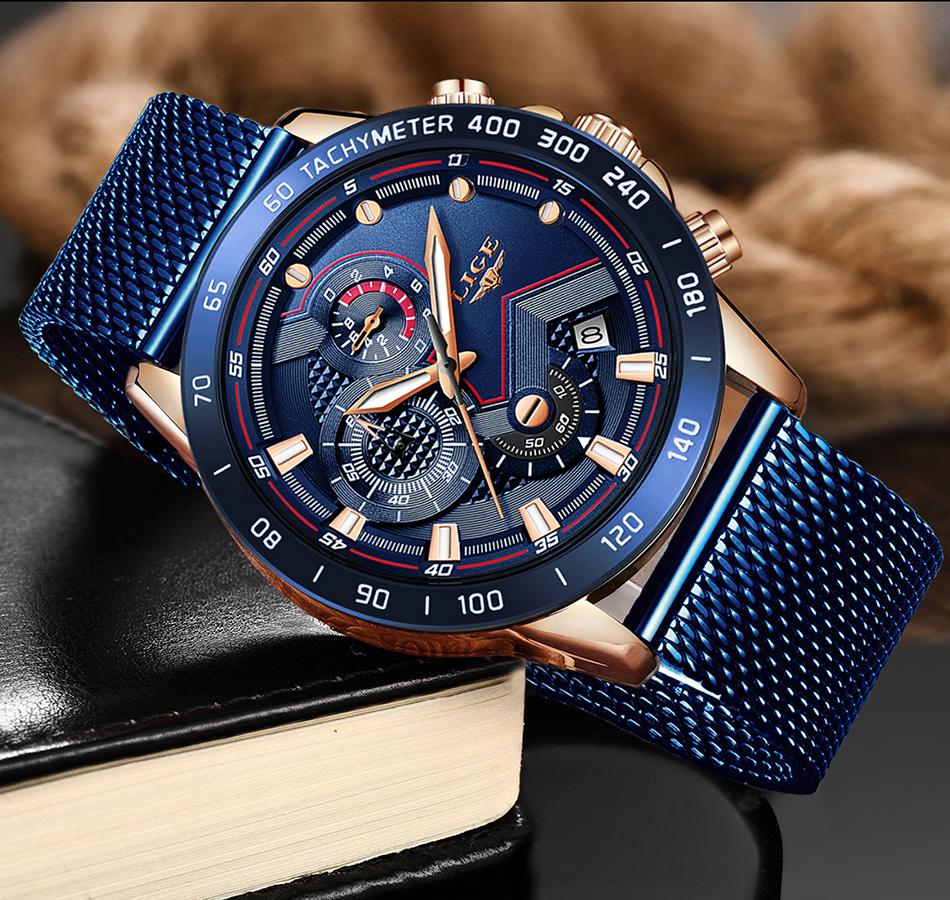 LIGE azul Casual malla Correa moda cuarzo oro reloj para hombre relojes marca superior reloj impermeable de lujo 5