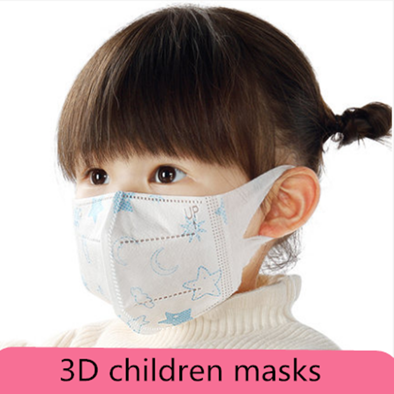 Spot 10PCS Disposable Mask 3D 3-Ply Non-Woven Face Mask Children's Masks 1-5 Old Years Baby/6-14 Years Old 3D Chid Face Mask
