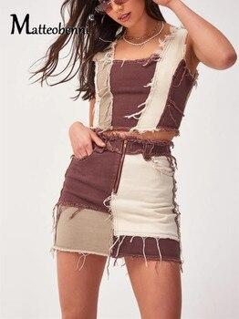 Fashion Patchwork Cotton Denim High Waist Straight Skirt With Pockets Autumn Streetwear Block Color Zipper Women Sexy Mini Skirt drawstring waist color block letter skirt