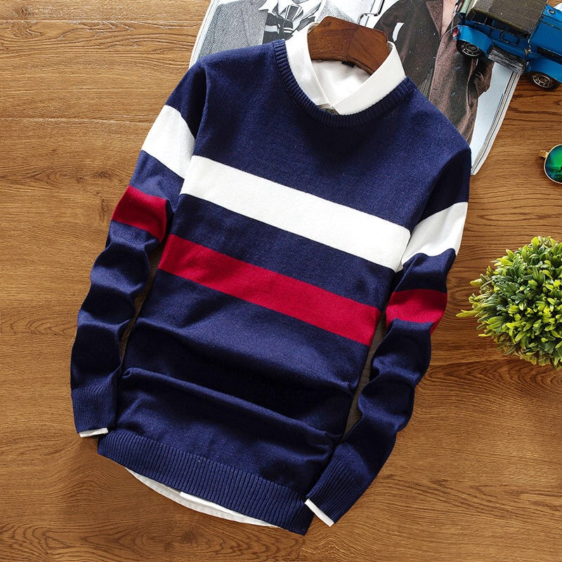 Men's Sweater Regular Pullover Warm Striped Slim Knitted Sweater Round Neck Pullover 2019  Male Tops