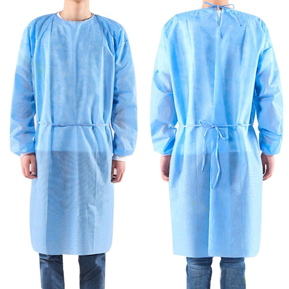 10pcs/set Disposable Gowns Bandage Coveralls Surgical Gown Dust-proof Isolation Clothes Labour Suit Non-woven Security Cloth