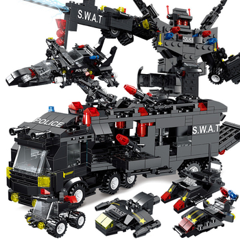 8IN3 SWAT City Police Station Building Blocks Playmobiled City Car Truck Creative Bricks legoINGlys Toys For Children Boys Gifts 1122pcs 8in1 swat city police station building blocks compatible technic car truck creator bricks toys for children boys gifts