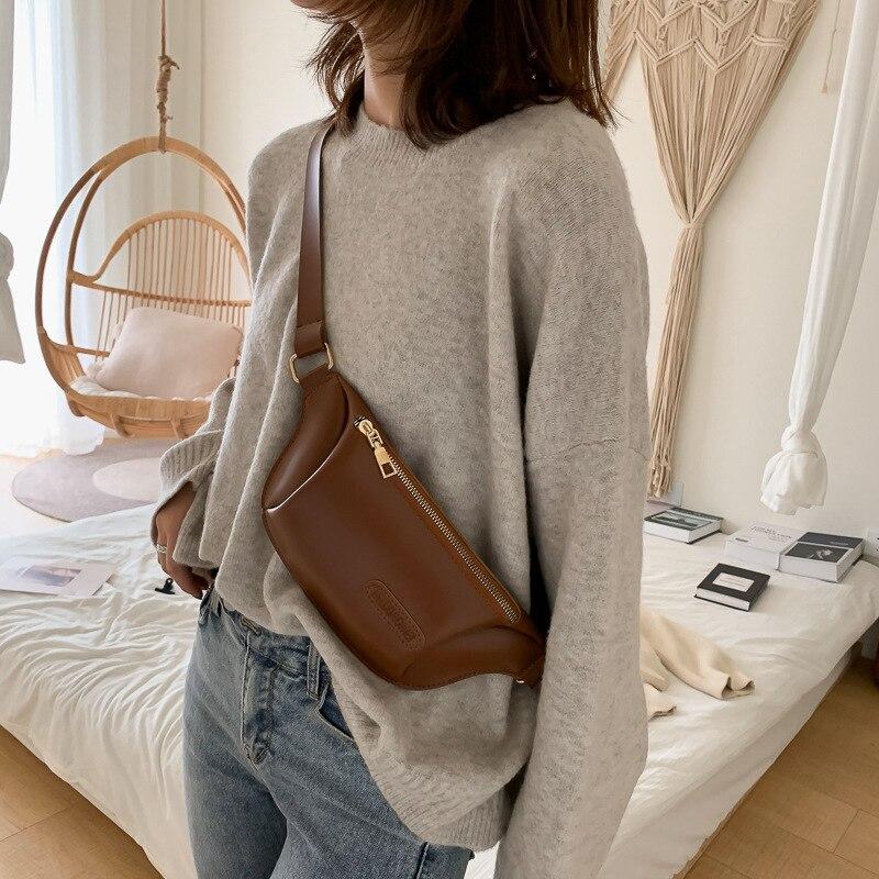Waist Bag Women PU Leather Fanny Pack Fashion Belt Bag Women Phone Pouch Casual Zipper Chest Bags Girls Travel Shoulder Backpack
