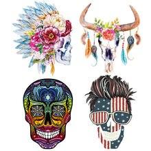 Термонаклейки и черепами в стиле панк патчи для одежды бесплатная