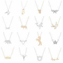 Handmade Bird Bear Horse Cat Bat Squirrel Animal Necklace Women Baby Girls Pendant Necklaces Crystal Statement Jewelry Gift(China)