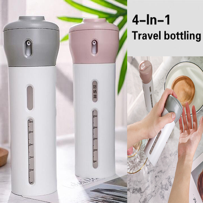 4-In-1 Travel Bottles Set Organized Leak Proof Toiletries Refillable Liquid/Lotion/Cream Container Kit Spray Bottle Makeup Tools