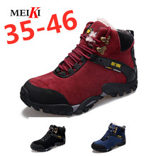 MEIKI 2019 New Autumn Winter Boots Men Suede Leather Unisex Fashion Snow boots Male Work Shoes Lover Martin Boot Large Plus size