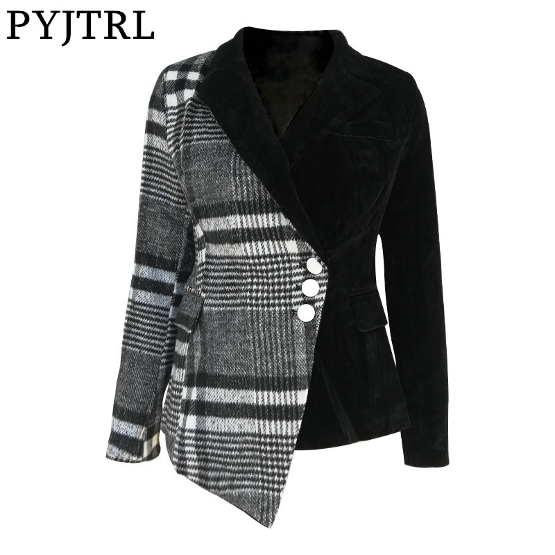 PYJTRL Women Fashion Plaid Blazer Coat Female Long Sleeve Spring Fashion Clothes