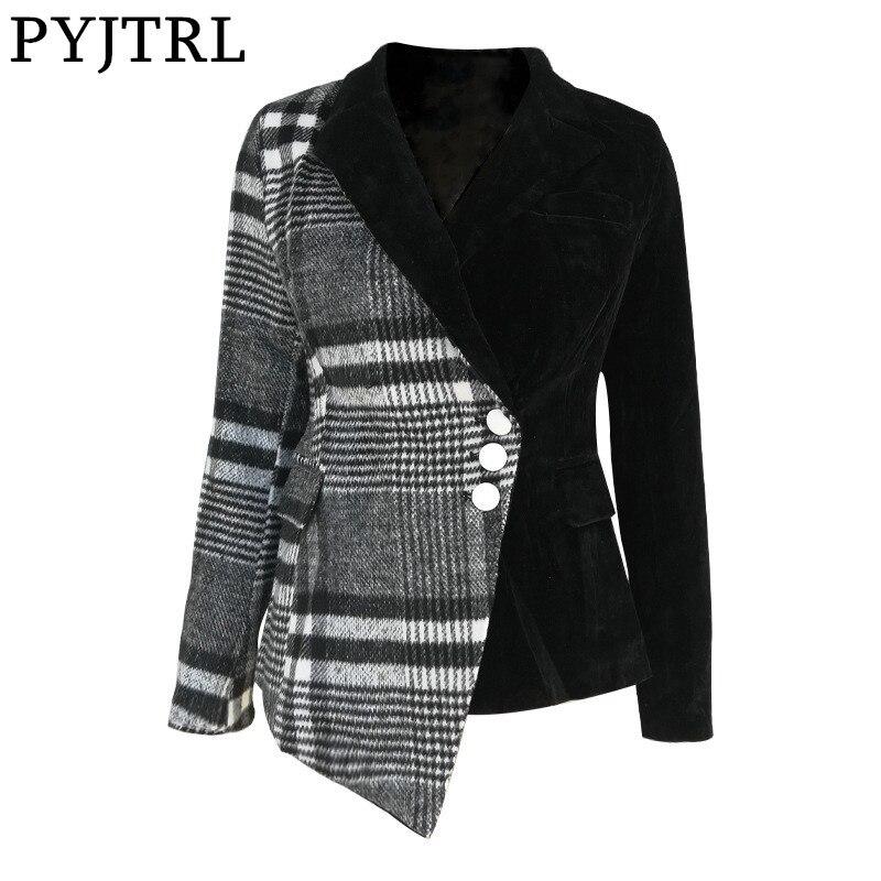 PYJTRL Women Fashion Plaid Blazer Coat Female Long Sleeve Spring Fashion Clothes