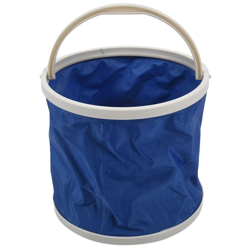 LEO Outdoor Canvas Bucket Folding Bucket Portable Camping Hiking Fishing Bucket Fishing Tackle Tools blue