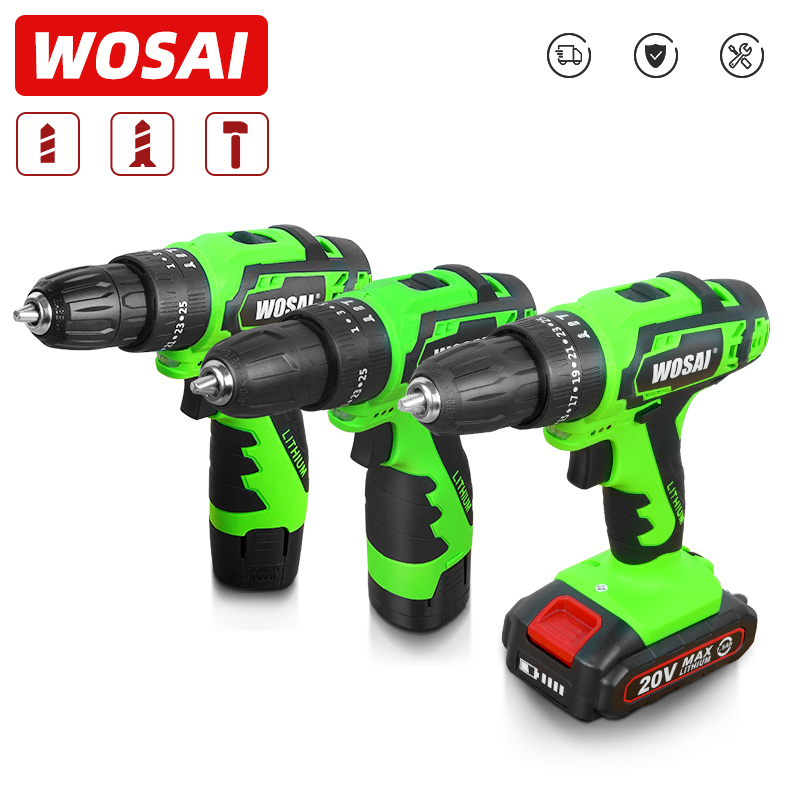 WOSAI 12V 16V 20V <font><b>Impact</b></font> <font><b>Electric</b></font> <font><b>Screwdriver</b></font> <font><b>Cordless</b></font> <font><b>Drill</b></font> <font><b>Impact</b></font> <font><b>Drill</b></font> Power Driver DC Lithium-Ion Battery 3/8-Inch 2-Speed image