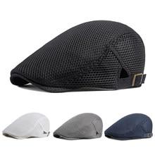 Sombreros de malla transpirable para hombre y mujer, gorros informales para exteriores, sombrero de Golf Unisex, gorra plana Lisa a la moda, boina de verano