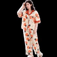أطقم بيجامات نسائية ملابس نوم صيفية 2020 ملابس نوم نسائية مريحة مطبوعة بأكمام قصيرة 100% بيجاما قطنية نقية ملابس نوم للبنات