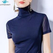 T-Shirts Skinny-Tops Turtleneck Short-Sleeve Mesh Slim-Fit Bottoming Female Korea-Style