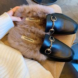 Shoes Women 2019 Autumn Ladies Slip On Mules Square Toe Fashion Brand Female Low Heels Warm shoes With Fur Winter Fur
