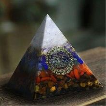 AURAREIKI – pyramide Orgonite Ajna Chakra Raziel, cristal blanc naturel obsidienne, expulse les Forces maléfiques, bijoux artisanaux en résine de 6cm